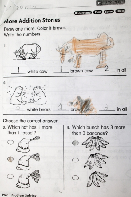 Ronin's cow and brown bear math problems