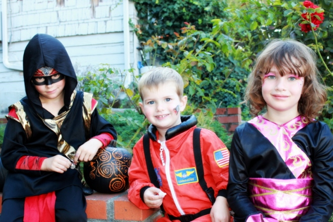 Ronin, Soren and Claire in their costumes