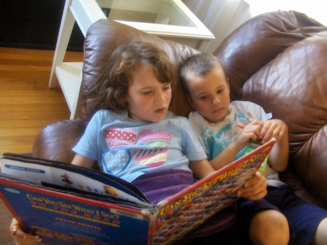 Claire and Ronin reading together