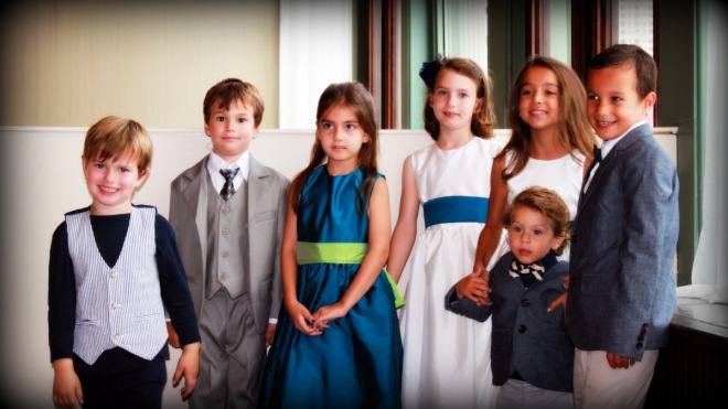 All of the children at the wedding, dressed up in their finery