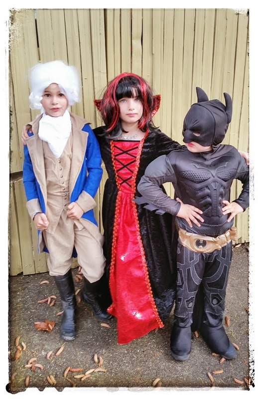 Ronin, Claire, and Soren outside the first Halloween party