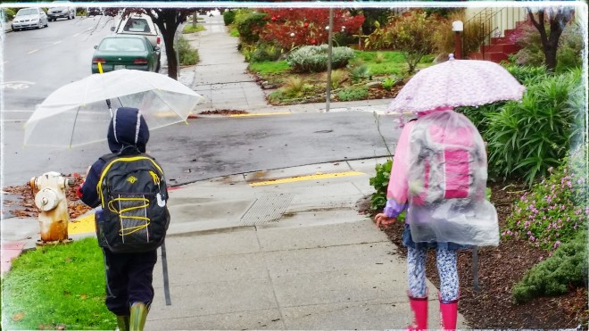 Walking home from school through the rain