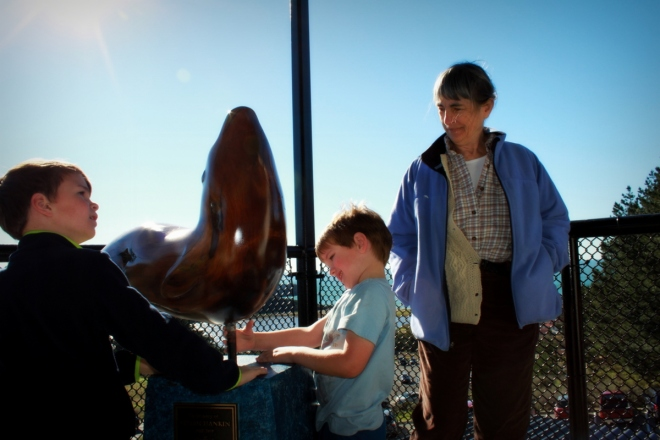 Getting close to one of the few marine mammals we could observe -- a statue
