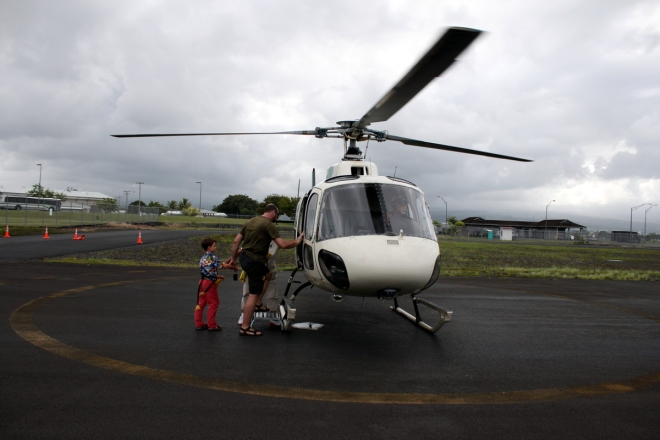 Getting into the helicopter