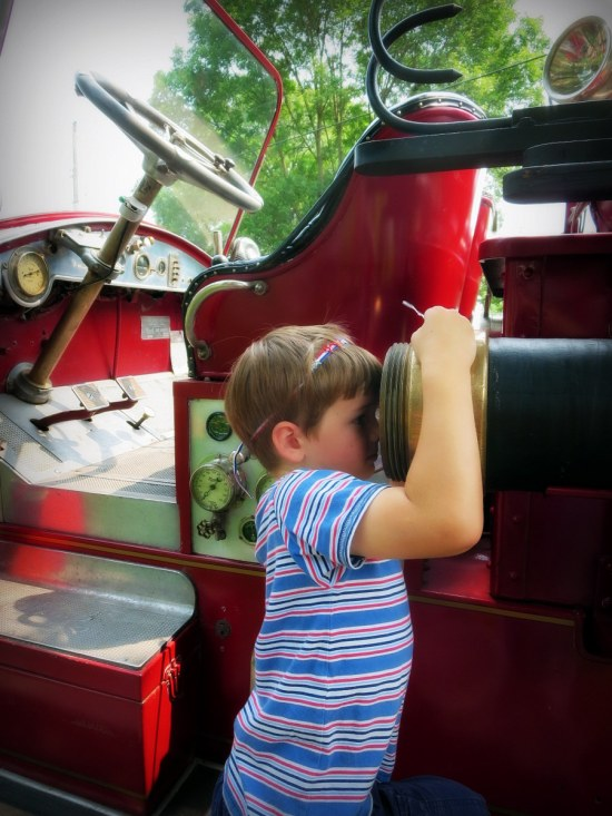 Soren: I was looking through the fire hose. The fire truck is one of the 4th of July colors-- RED, like red, white and blue.
