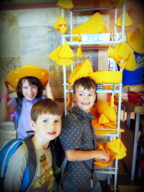 Claire: When we arrived, we saw cheese hats! Ronin: Cheese hats YUM!
