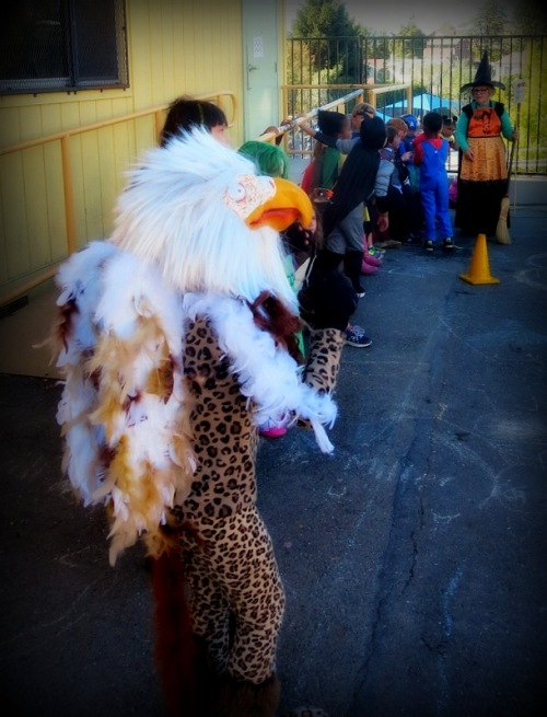 Soren wearing his griffin costume during the parade at school