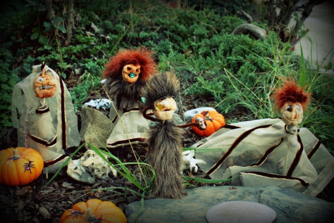 A tableau of shrunken apple people in our yard, courtesy of Soren