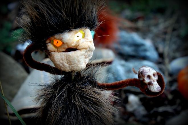 Soren made shrunken apple heads for a Halloween decoration