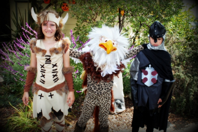A viking, a griffin and a knight