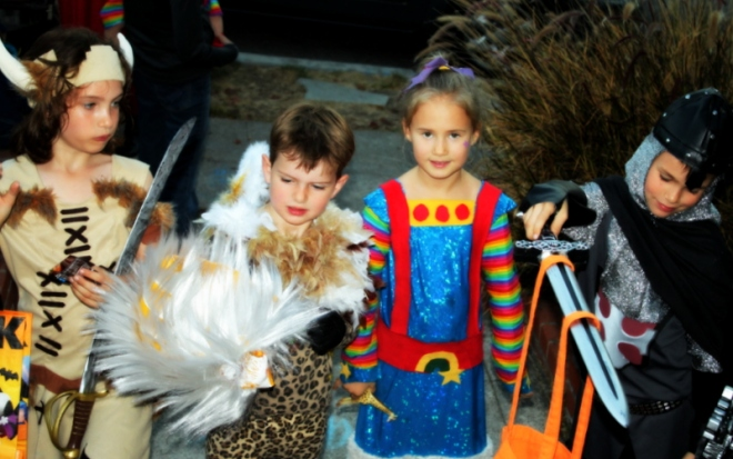 Trick or Treating with our friend Maiya