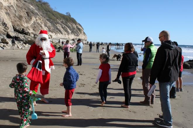 "Santa on the beach in ""Santa"" Barbara"