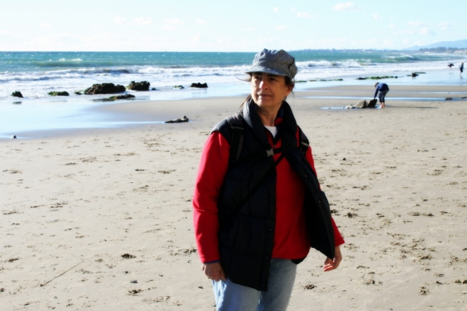My mom, Jan, walking on the beach