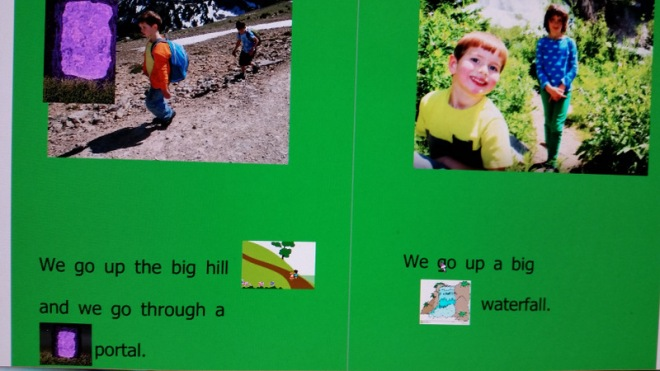 A page from a book I made for Soren to help him learn how to read