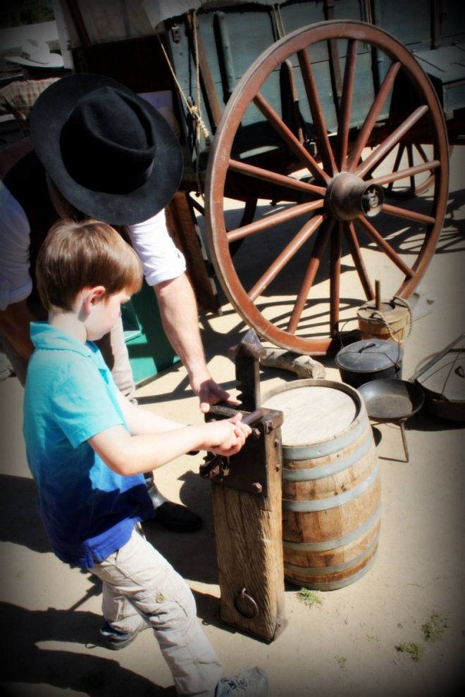 Soren also learned how to jack up a wagon to repair a wheel