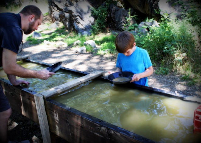 Justin and Soren panning for gold