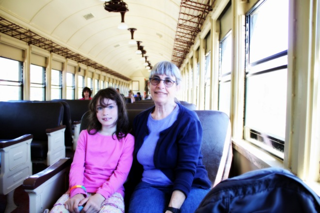 Claire and Jan on the train