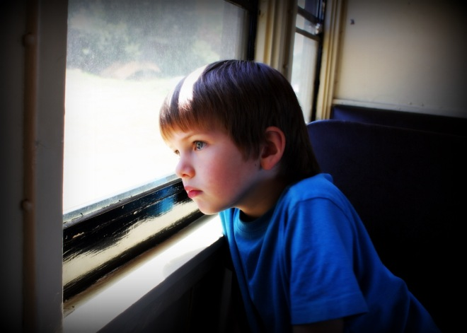 Soren, intently looking out the window