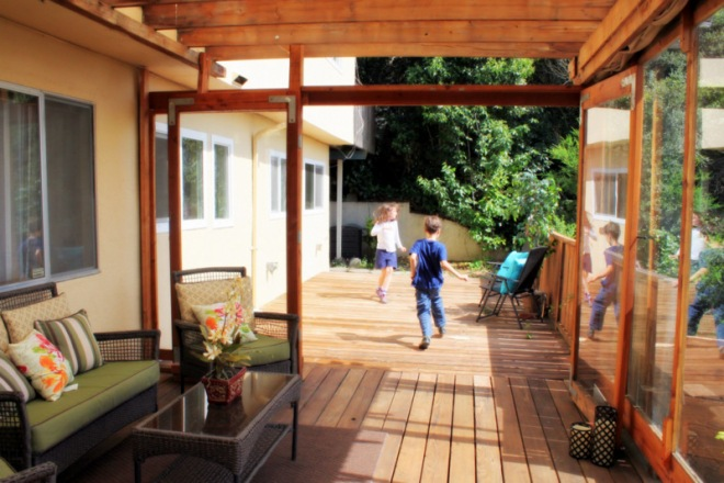 View of the deck from inside the solarium